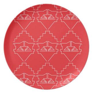 Assiettes En Mélamine Regard d'Aztèques d'éléments de conception vieux