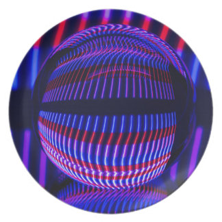 Assiettes En Mélamine Rouge et bleu dans la boule en verre