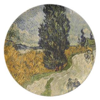 Assiettes En Mélamine Route de Vincent van Gogh | avec des cyprès, 1890