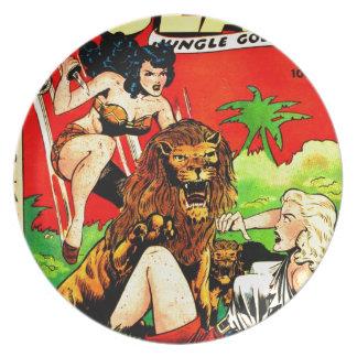 Assiettes En Mélamine Rulah et un grand lion effrayant