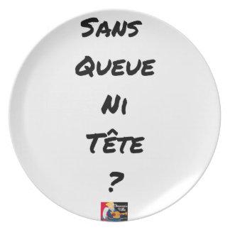 Assiettes En Mélamine SANS QUEUE NI TÊTE ? - Jeux de mots