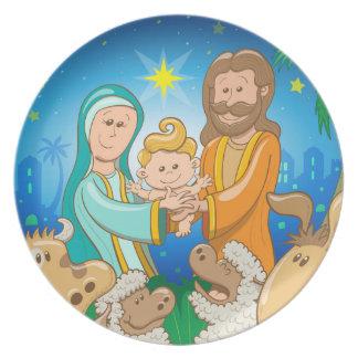 Assiettes En Mélamine Scène douce de la nativité du bébé Jésus