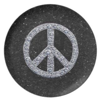 Assiettes En Mélamine Signe de paix de diamant