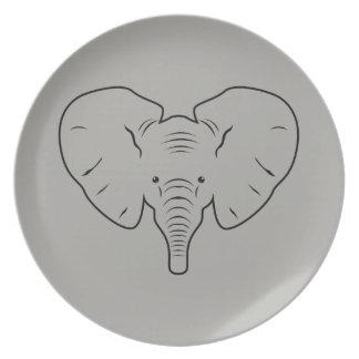 Assiettes En Mélamine Silhouette de visage d'éléphant