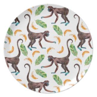 Assiettes En Mélamine Singes doux jonglant des bananes