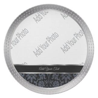 Assiettes En Mélamine Souvenir noir décoratif de damassé et d'argent
