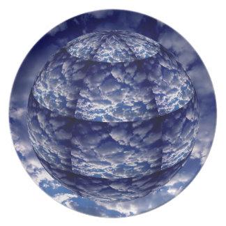 Assiettes En Mélamine Sphère abstraite du nuage 3D