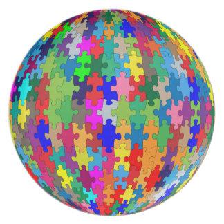 Assiettes En Mélamine Sphère de puzzle