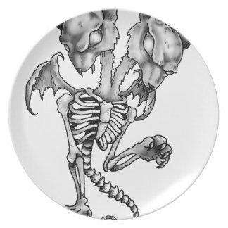Assiettes En Mélamine Squelette de batte de chat
