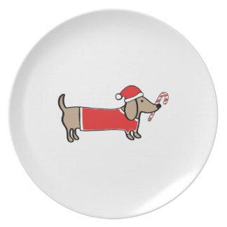 Assiettes En Mélamine Teckel de Noël