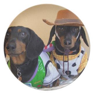 Assiettes En Mélamine Teckel drôle - cowboy de chien