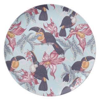 Assiettes En Mélamine Toucans avec les fleurs exotiques