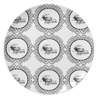 Assiettes En Mélamine troupeau d'élans dans le groupe