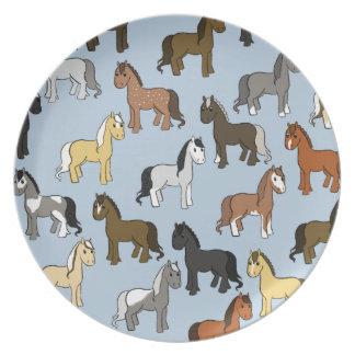Assiettes En Mélamine Troupeau mignon de chevaux