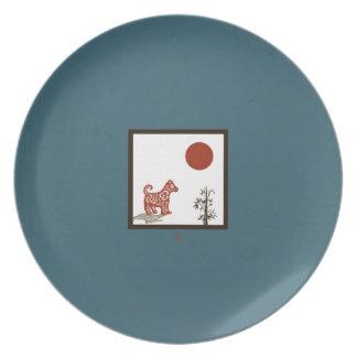 Assiettes En Mélamine Tuile de chien de kanji