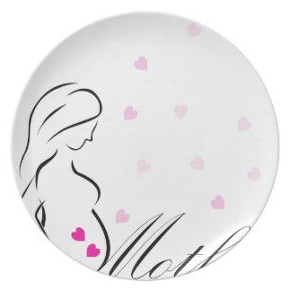 Assiettes En Mélamine Une future mère enceinte avec les coeurs roses