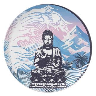 Assiettes En Mélamine Vague de montagne tropicale de Bouddha