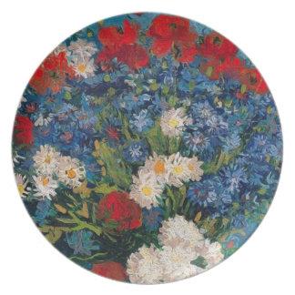 Assiettes En Mélamine Van Gogh et fleur d'Elizabeth - dessert et diner