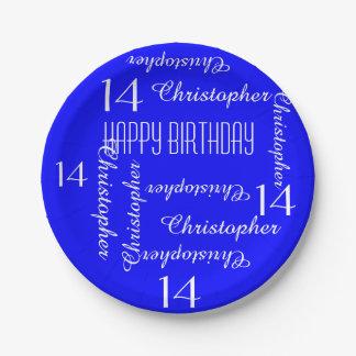 Assiettes En Papier 14ème fête d'anniversaire de bleu royal répétant