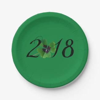 Assiettes En Papier 2018 avec le shamrock de St Patrick