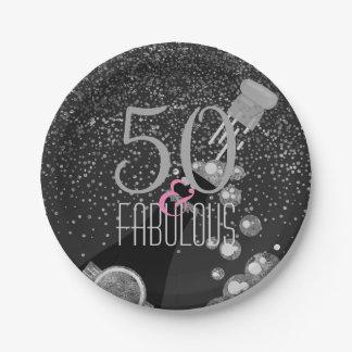 Assiettes En Papier 50 et anniversaire élégant fabuleux de Champagne