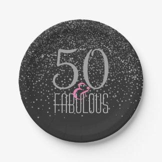 Assiettes En Papier 50 et anniversaire élégant noir fabuleux de