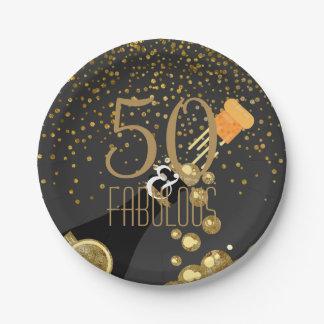Assiettes En Papier 50 et anniversaire fabuleux Champagne élégante