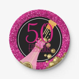 Assiettes En Papier 50 et cinquantième fête d'anniversaire de rose