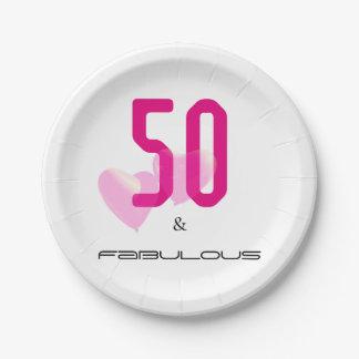 Assiettes En Papier 50 et plaque à papier d'anniversaire rose élégant