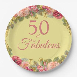 Assiettes En Papier 50 et roses roses fabuleux avec des contacts d'or