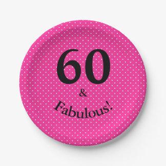 Assiettes En Papier 60 et pois rose lumineux d'anniversaire fabuleux