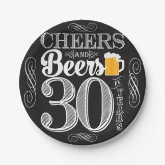 Assiettes En Papier Acclamations et bières à 30 ans de plaques à