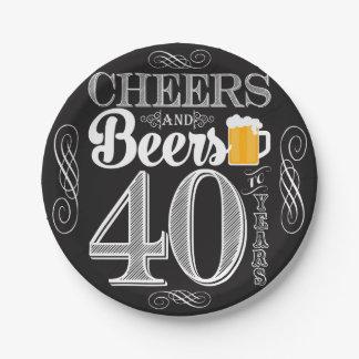 Assiettes En Papier Acclamations et bières à 40 ans de plaques à