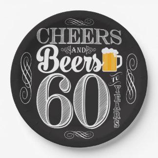 Assiettes En Papier Acclamations et bières à 60 ans de plaques à