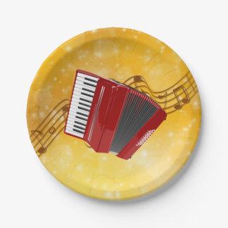 Assiettes En Papier Accordéon rouge, notes musicales sur l'arrière -