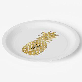 Assiettes En Papier ajoutez votre ananas de monogramme