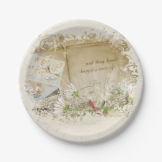 Assiettes En Papier album de mariage avec le bouquet de marguerite