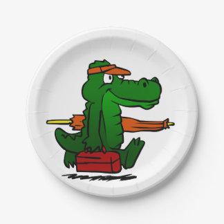 Assiettes En Papier Alligator allant à la plage