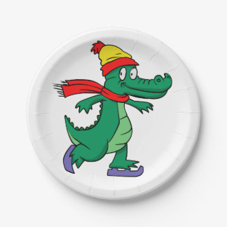 Assiettes En Papier Alligator patinant avec le casquette et l'écharpe