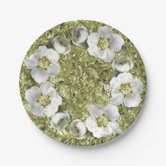 Assiettes En Papier Aluminium floral méditerranéen de menthe de blanc