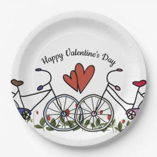 Assiettes En Papier Amants Valentine de bicyclette