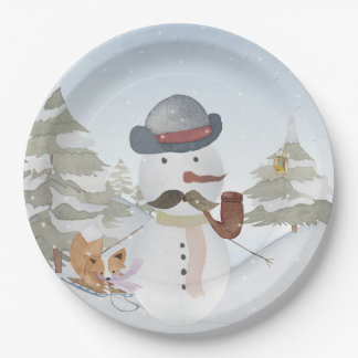 Assiettes En Papier Amis de région boisée de bonhomme de neige et