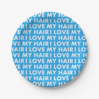 Assiettes En Papier Amour du bleu I mon coupe-circuit de cheveux