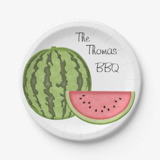 Assiettes En Papier Amusement d'été, BBQ, pastèque, personnalisée,