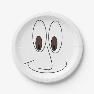 Assiettes En Papier Amusement souriant heureux d'impression de visage