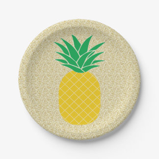Assiettes En Papier Ananas de parties scintillantes d'or tropical