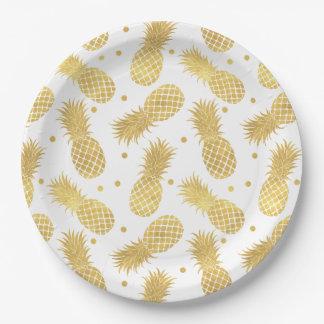 Assiettes En Papier Ananas étincelants d'or