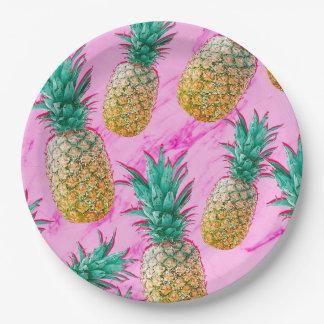 Assiettes En Papier Ananas tropicaux d'amusement et partie chic de