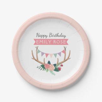 Assiettes En Papier Andouillers roses et anniversaire de la fille
