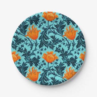 Assiettes En Papier Anémone de William Morris, bleu d'indigo et corail